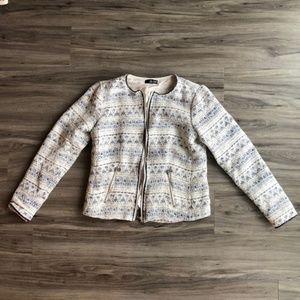 A.N.A. Tweed Blue and White Zipper Blazer Jacket